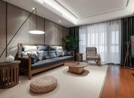 169平现代新中式,深木色营造暖调质感
