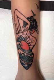 一组美丽的彩色女生背影手臂纹身图