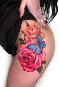 一组彩色美丽的花朵女生纹身图案参考