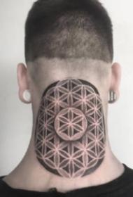 颈部和头部的10款个性点刺梵花纹身作品图案