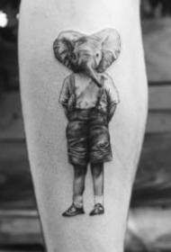 很有创意的一组个性动物头人身的纹身作品