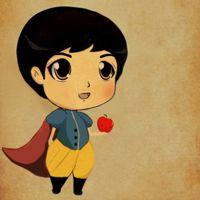 灰姑娘与王子的Q版卡通情侣头像