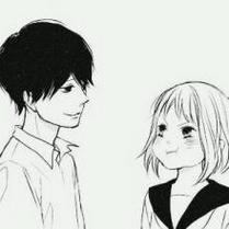 简约手绘卡通情侣qq黑白头像图片