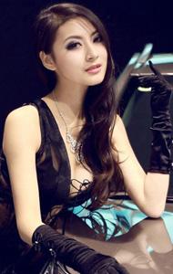 黑丝薄纱美女车模写真 蜂腰美胸极诱惑