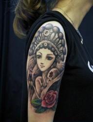 美女腿部花旦纹身图片