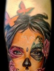 流行漂亮的一张欧美new school美女纹身手稿