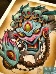 一款彩色school纹身图案