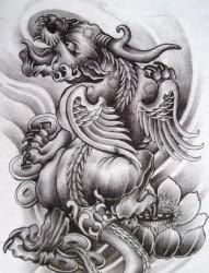 炫酷的招财神兽貔貅纹身手稿