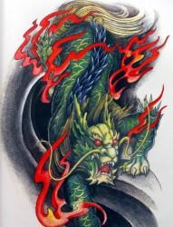 大气经典的火麒麟纹身手稿