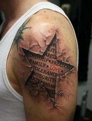 帅气的3d星星英文纹身