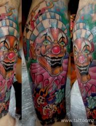 男女超个性小丑炫彩纹身图案