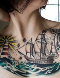 航海梦帆船图案纹身