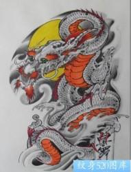 彩色半甲龙披肩龙纹身图片纹身图案