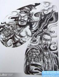 一张经典超酷的半甲张飞刘备纹身图片