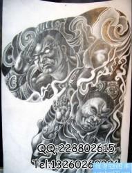 传统半甲纹身图片:半甲千里眼顺风耳纹身图案