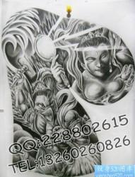 传统半甲纹身图片:半甲雷公电母纹身图案