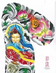 日式老传统之一幅潮流漂亮的半甲美女莲花纹身图片