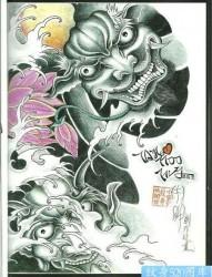 来自中国纹身吧搜集的一副传统半甲鬼头纹身图片手稿作品