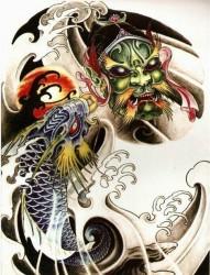 半甲莲花纹身图片:彩色鳌鱼鬼头纹身图片纹身作品