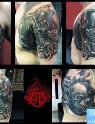来自烈火的一幅超酷的半甲牛魔王与孙悟空纹身图片图片