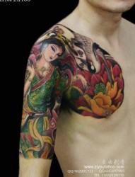 来自日本的日式经典的传统半甲唐狮子纹身手稿图片分析