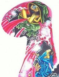 日式老传统之经典帅气的半甲女鬼纹身手稿图片
