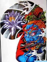 纹身520图库为你推荐一幅低端奢华有内涵的半甲金刚力士纹身手稿图片作品