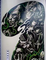 中国印之阴森恐怖超酷凶悍的半胛黑灰无常纹身手稿图片