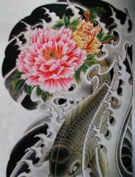 来自中国经典的传统半甲喜庆鲤鱼牡丹纹身手稿图片