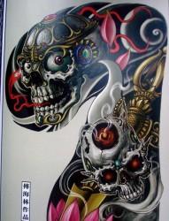 纹身520图库推荐的经典超酷的半甲嘎巴拉纹身手稿图片