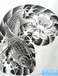 纹身网提供中国传统半甲吉祥招财鲤鱼莲花纹身手稿图片作品展示