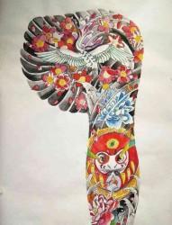 一款不错的半甲纹身手稿图案