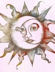 漂亮好看的太阳图腾手稿
