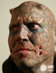 恐怖男头部另类图腾纹身图片