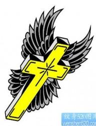 流行经典的图腾十字架翅膀纹身图片