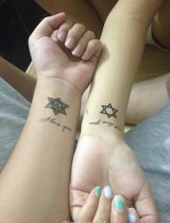 情侣手腕漂亮唯美的六芒星纹身