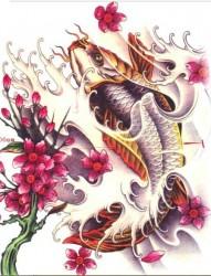 非常漂亮的鲤鱼纹身手稿