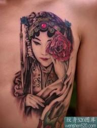 中国京剧人物花旦的纹身效果图