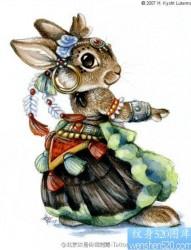 一款兔子纹身图案
