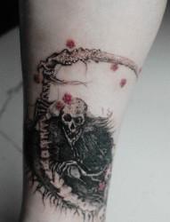 死神脚踝个性刺青