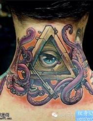 纹身520图库提供一款脖子上帝之眼纹身图案