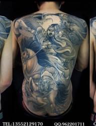 男士后背满背蓝黑色关羽人物纹身图案