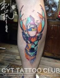 个性经典水彩鹿小腿纹身