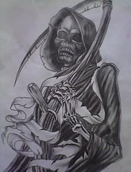 个性炫酷的死神纹身手稿
