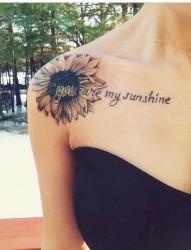 一组唯美的向日葵纹身图案