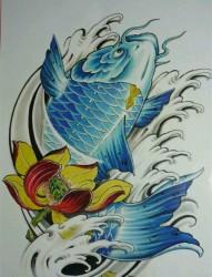 彩色鲤鱼纹身手稿