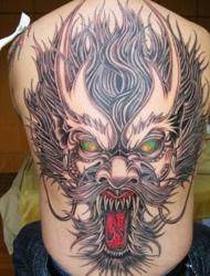 铺满整个背部的凶猛夜叉纹身