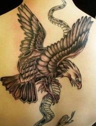 老鹰捕抓蛇的背部个性纹身