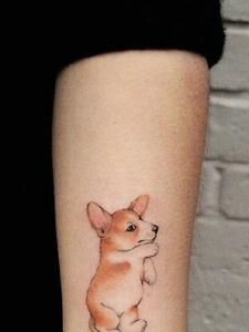 手臂宠物小狗纹身图片可爱萌萌哒