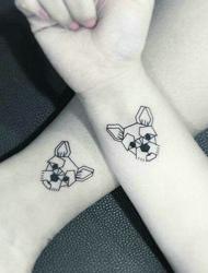 一组小清新可爱的黑白图案纹身